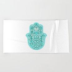 Turquoise Watercolor Hamsa Hand Beach Towel