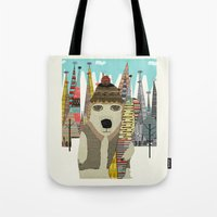 snowboarding Tote Bags featuring murphy by bri.buckley