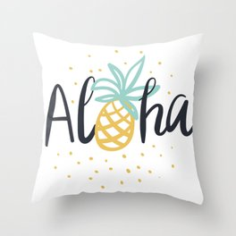 Aloha lettering and pineapple Throw Pillow