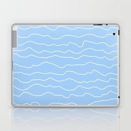 Light Blue (Lighter) with White Squiggly Lines Laptop & iPad Skin