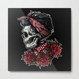 Lady Skull, Retro Rockabilly Metal Print