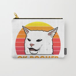 Woman Yelling At Table Dinner Funny Cat Ok Boomer Carry-All Pouch