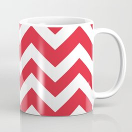 Rose madder - red color - Zigzag Chevron Pattern Coffee Mug