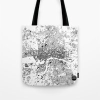 london map Tote Bags featuring LONDON MAP by Maps Factory