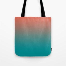 Pantone Living Coral & Viridian Green Gradient Ombre Blend Tote Bag