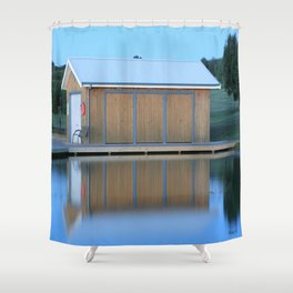 Boat House Blue Shower Curtain