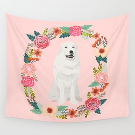 great pyrenees dog floral wreath dog gifts pet portraits Wall Tapestry