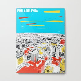 Philadelphia View From Observation Deck Paint on Photo Metal Print