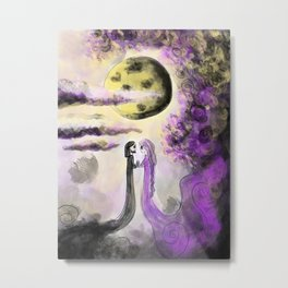 """""""Dancing in the Moonlight"""" - Spooky Couple - Drawing by Myles Katherine Metal Print"""