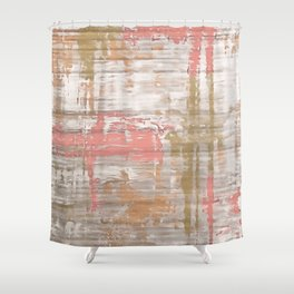 Living Coral, Camel And Gray Texture Shower Curtain