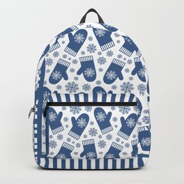 Wintery Blue Snowflake Mittens Backpack