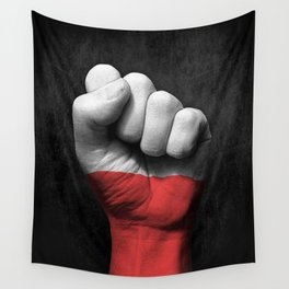 Polish Flag on a Raised Clenched Fist Wall Tapestry