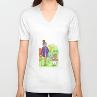 willy wonka V-neck T-shirts featuring Pure Imagination: Willy Wonka & Oompa Loompa by Michael Richey White by lost robot