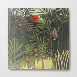 """Henri Rousseau """"Monkeys and Parrot in the Virgin Forest"""" Metal Print"""