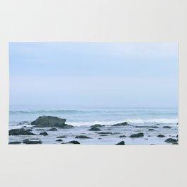 Foggy Morning Beach Rug