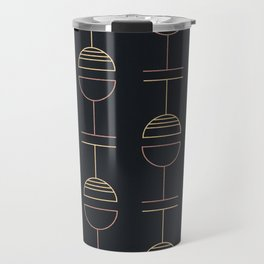 Art Deco Gold Red Ovals on Black Background Travel Mug