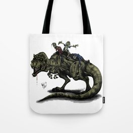 Zombies Riding a Trex Tote Bag