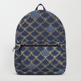 Elegant Gold and Blue Scales Backpack
