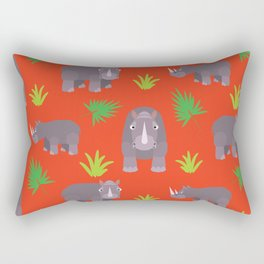 Happy hippo red background Rectangular Pillow