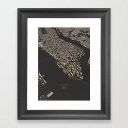 Manhattan city map Framed Art Print