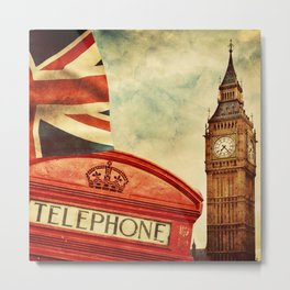 Red telephone booth and Big Ben in London, England Metal Print