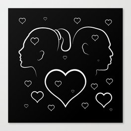 Volumetric red heart cracked. Silhouette man and woman in a quarrel. Canvas Print