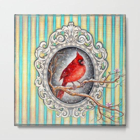 RED CARDINAL in FRAME Metal Print