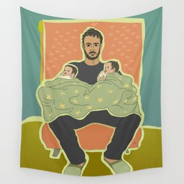 Father with Twins Wall Tapestry