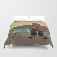 chuck Duvet Covers featuring How much wood could a wood bear chuck by ALFIE creative design