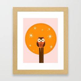 Owl on a Fence Framed Art Print
