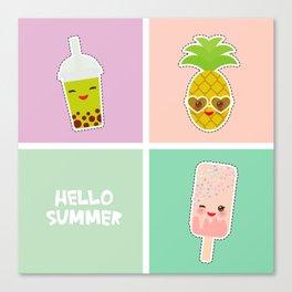 Hello Summer bright tropical card, pineapple, smoothie cup, ice cream, bubble tea. Kawaii cute face. Canvas Print