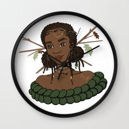 Autumn Oak Goddess • Black Girl Magic in Fall Colors Wall Clock