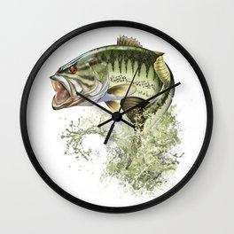 Bigmouth Bass Leaping to Freedom Wall Clock