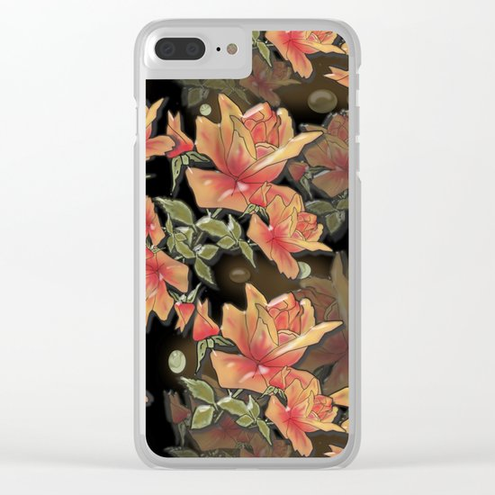 Yellow roses . Imitation glass .3D/ Clear iPhone Case