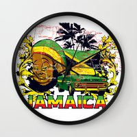 jamaica Wall Clocks featuring Jamaica by Tshirt-Factory