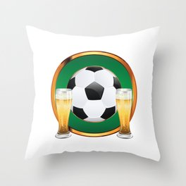 Two beer glasses and soccer ball in green circle Throw Pillow