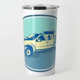 Tipper Pick-up Truck Oval Woodcut Travel Mug