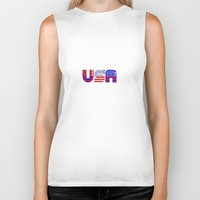 usa Biker Tanks featuring USA by Brian Raggatt