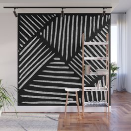 Lines and Patterns in Black and White Brush Wall Mural