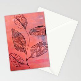 coral abstract Stationery Cards