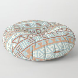 Aztec Influence Pattern Blue Cream Terracottas Floor Pillow