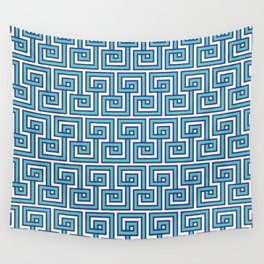 Greek Key - Turquoise Wall Tapestry