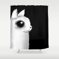 kitty Shower Curtains featuring Kitty by Siriusreno