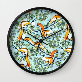 Oak Tree with Squirrels in Summer Wall Clock