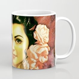 Jesus Helguera Painting of a Mexican Calendar Girl with Fan Coffee Mug