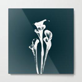 Calla Lily - Navy Metal Print