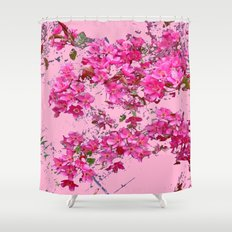 Decorative Pink Crab Apple Blossoms Spring Art Shower Curtain