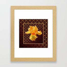 COFFEE BROWN ART PATTERN GOLDEN BEARDED IRIS Framed Art Print