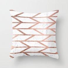 Modern faux rose gold herringbone chevron pattern Throw Pillow