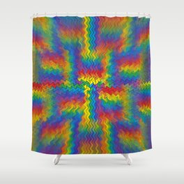 Electrified Rainbow Shower Curtain